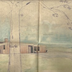 Architect's drawing of early concept of new Village Hall, 1973