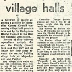 County to get protest over village Halls, Basingstoke Gazette April 1974