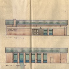 North and south elevations of early design.