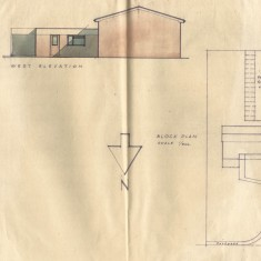 Coloured west elevation  and block plan for early design.