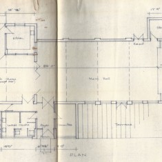 July 1973 Floor plan of hall. Note that a Committee room was proposed where gents' toilets now are.
