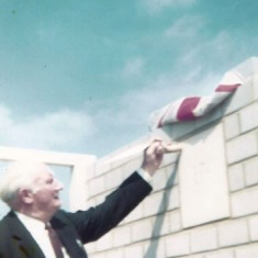 Herbie Goddard, Chair of Village Hall Committee and Parish Council, topping out Village Hall