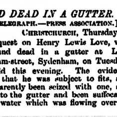 Notice of death of Henry Lewis Love, 1888,  New Zealand Herald Volume XXV Issue 9183, 12 October 1888 page 2