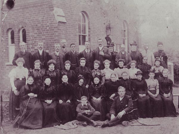 Primitive Methodist congregation outside the chapel, c1893