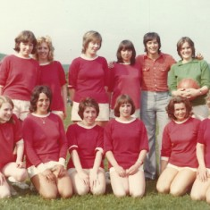 Women's soccer team, with Peter Marinelli. Left to right, Sharon Brown, Pat Elliott, Julie Cannings, Diane Adams, P.M., Fiona Tindell, Joan Blackman, front row, Mary Crockford, Joyce Colbourne, Dawn Adams, Brenda Kirby, Mrs Whiteley and Julie Goddard. Pam Sparrow also played, but took the photo.