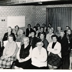 British Legion East Meon branch. The photo includes, first row, left to right, Ivy Cook, not known, Ethel Lambert; second row, second from left, Mrs Simpson, nk, Pam Goddard, on right, Thelma Hoare third row, Eileen Brook,, nk, Kath Adams.