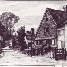 Engraving of The Cottage by Robert Bryden, 1905, showing house abutting, since demolished.