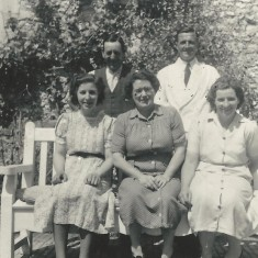 Staff of Court House. Standing, unidentified man, Fred Crockford (white coat), Seated, Marlene Kille, Jessie Crockford, Marion Lambert