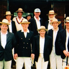 A team in the 1990s, including Jane Sims, tea maker, at the very back, Bill Tyrwhitt Drake, back row second from left, Frank Wheeler, back row extreme right, Dominic Carney, front row right, Alan Blackman third from right, front.