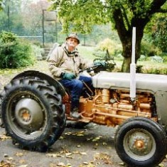 Denys on his beloved vintage Ferguson tractor.