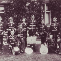 Fife and Drum Band, 1896. Robert Fisher, standing, is second from left, and his brother George, on the right.