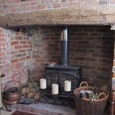 Inglenook fireplace at Vicarage Lodge