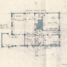 Plan by Brian Tyler showing layout of ground floor before reconstruction