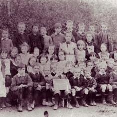 Schoolchildren outside National School, date not known.