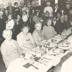 Luncheon Club. End table Kit Tubb, Marion Blackman, Rods Mauback, …. Marjorie Lambert,Thelma Hoare Sylvia Whittear, Daisy & Fred Gibbs, Mrs Tee, Jean Blackman, Kath Adams, Nellie Goddard, Pam Goddard, another, Mrs Porch, Jessie Crockford, Mrs Ivy Blackman