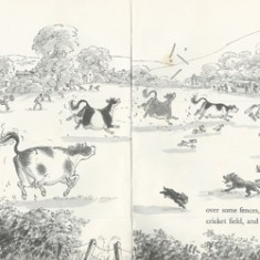 Judy Brooks' illustration of cows causing mayhem during an East Meon cricket match.