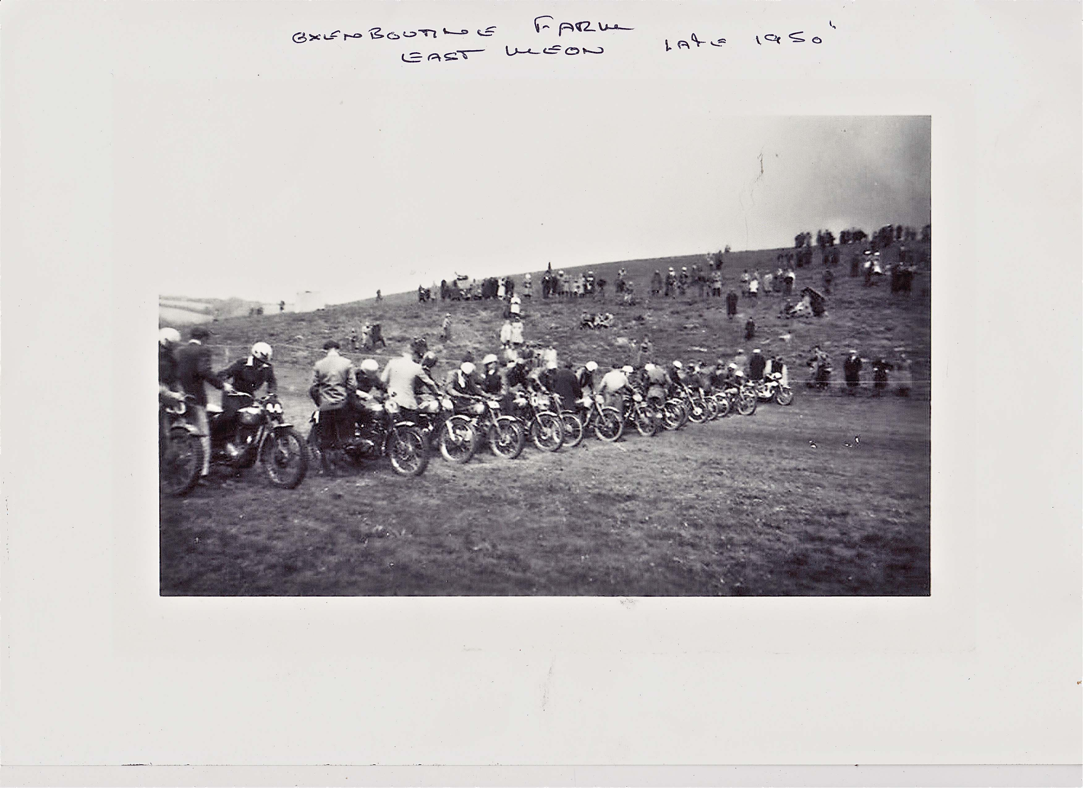 Motor bike rally at Oxenbourne Farm 1950
