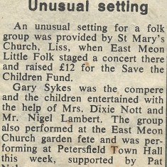 Account of the group's concert in Liss, June 1969