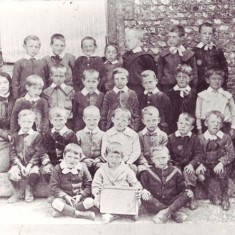 Children at East Meon National School, with headmaster W.S.Tregear, 1880s
