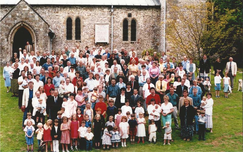 This group photo of East Meon residents was taken in 1999 as a fund raising exercise for the Church Room at All Saints