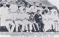 Westbury House Cricket Club, 1909. Colonel LeRoy Lewis (owner of Westbury House) in centre, his son on left, wife on right.