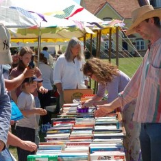 Bookstall, Johnny and Biz Culley selling.