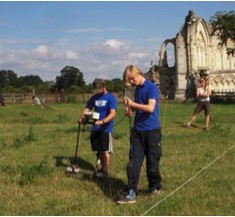 Youngsters counducting resistivity survey