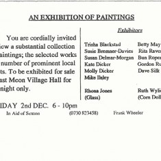 Reverse of art sale invitation, with list of village artists who had contributed work.