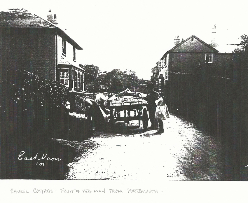 Photocopy of photo of Laurel Cottage with fruit and veg man from Portsmouth. Kilburn House on right.