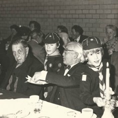 Jenny's parents at Scouts dinner. Left to right, Mr Fielder (Kath Barrow's father), Leslie and Janet Witt.