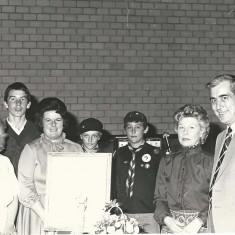 Retirement of P.C.Bob Scivier. From left, Jenny Wheeler, Jamie Sparrow, Pam Sparrow, Stephen Painter, n.k., Eileen Scivier, Bob Scivier