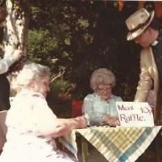 Church Fete. From left, Sheila Newbury, Iris Porter, ?, Rev Peter Wadsworth