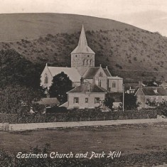 Early post card of All Saints, across fields. Appleerry Cottage is not yet built, therefore before 1920.