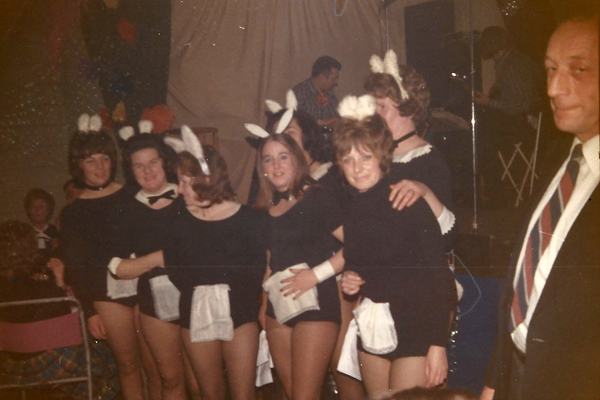 East Meon  bunny girls at fund-raising dinner. Left to right, Joan Blackman, Pam Sparrow, Hazel Pamplin, Dawn Adams, Jenny Wheeler, at back Sheila Newbury and Joyce Colbourne.