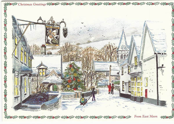 Christmas card with George and Old Post Office by Katherine Sprawling