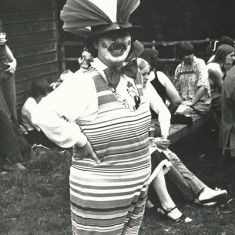 Pam Sparrow as a Clown, at Loony Olympics, fund-raising event.