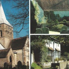 Composite post card showing All Saints church, Court House, Frogmore