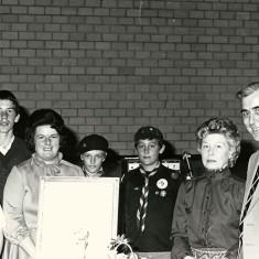 Jenny Wheeler, Jamie Sparrow, Pam Sparrow, Stephen Painter, Eileen Scivier, Bob Scivier on his retirement as village P.C.