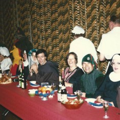 Mediaeval Banquet, fundraising for Village Hall. R to L, Terry Bell, Kim Bell (pregnant nun) Eddie Goldfinch, Sheila Goldfinch (lodgers) Peter and Margaret Davies. Held in the barn at Duncombe Farm