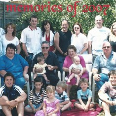 The Sparrow family in Australia, 2007. Left to right, back row, Pam's eldest son Jonathan Sparrow and wife Katrina, grandson Sam and wife Carley, youngest son Jason and wife Renelle, middle son Jamie and wife Sarah. Middle row, daughter Kim, husband John with grandaughter Abby, Pam with grandson Riley,  Kim's husband Terry. Bottom row, grandsons Joshua & Zac, granddaughter Holly, grandsons Owen, Ethan, Joseph.