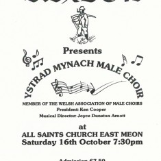 Notice of concert by Welsh Male Voice Choir, in aid of Sexton's Charity