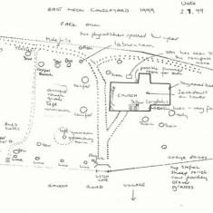 Sketch map of fauna in church yard