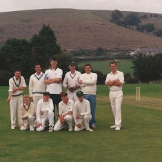 East Meon Cricket team against Park Hill. Left to right, back row, George Bartlett, Rob Thorne, n.k., Gus Coles, Martin James, n.k, front row, Martin Coooke,n.k., n.k., Donald Eames