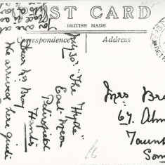 Text of Post Card sent to Mrs Bray
