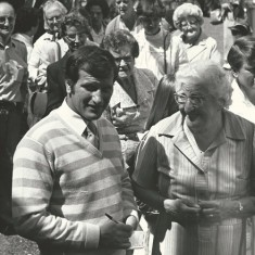Bob Champion, famous jockey, with Ann Williams. 1982 or '83.