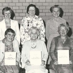 British Legion certificates to founder members. Front L to R Ivy Cook, Ellen Goddard, Mary Crockford, back row right, Eileen Brooks.