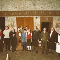 Court House Players in 'Enemy of the People', produced by Alastair Langlands. Left to right, Gary ?, ?, Nicholas Wood, Paul Townsend, Joanna Thompson, Alastair Langland, Jessica Cecil, Caspar Romer, Isabelle Valentine Dykes, Joki Deliss, John Batstone, Matthew Blakstad, Guy ?, Jane Bevan and Arthur Newbury.