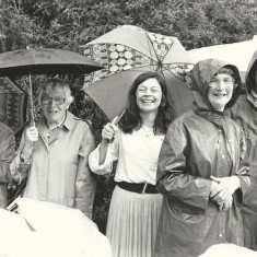 Church fete in rain, left to right: Audrey Street, Mrs Fisher, Bridget Reynolds, Betty May, Rosemary Ryder