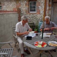 Colin Brindley and John Davies counting the takings, 2007