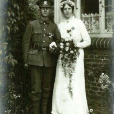Edward Bone in army uniform and Alice May in wedding dress. The wedding took place on 28th August 1915 at Liss.